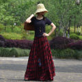 skirt Summer 2021 S,M,L,XL,2XL Red check, one week delivery longuette commute Natural waist Irregular lattice Type A 40-49 years old National style long skirt spring and summer flq0323 91% (inclusive) - 95% (inclusive) other Other / other cotton Fold, lacing, asymmetry Retro