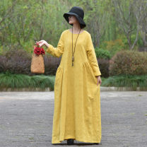 Dress Autumn of 2019 yellow One size fits all, s, length 124cm longuette singleton  Long sleeves commute Crew neck Loose waist Solid color Socket Pleated skirt routine Others 40-49 years old Type A Self made Retro Fold, pocket, jacquard Retro dress flq0230 81% (inclusive) - 90% (inclusive) other