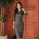 Dress Winter of 2018 Dark grey [regular], dark grey [thickened and velvet] S,M,L,XL Miniskirt singleton  three quarter sleeve commute Crew neck High waist zipper One pace skirt other Others 25-29 years old Other / other Ol style bow other