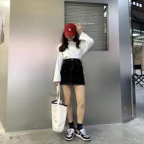 skirt Spring 2021 XS,S,M,L black Short skirt Sweet Natural waist A-line skirt other Type A 18-24 years old B1698D11 More than 95% Denim cotton pocket college
