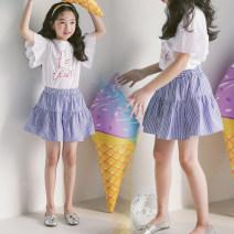 skirt 160cm,110cm,120cm,165cm,130cm,150cm,140cm Single piece of skirt, white short sleeve + skirt [two piece set], single piece of white short sleeve Other / other female Other 100% summer skirt Korean version stripe A-line skirt cotton Class B