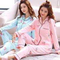 Pajamas / housewear set female Jinfeng is gorgeous cotton Long sleeves Simplicity pajamas autumn routine Small lapel Plants and flowers trousers double-breasted youth 2 pieces rubber string More than 95% Knitted cotton fabric printing 808# 200g and below