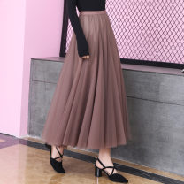 skirt Summer of 2019 Average size Black, apricot, grey, coffee, champagne longuette commute Natural waist Pleated skirt Type A ZS-958 Other / other Korean version