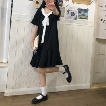 Dress Summer 2021 Black and white lace dress Average size commute