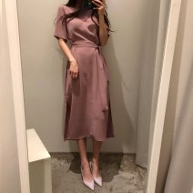 Dress Summer 2020 Black, pink S,M,L Mid length dress singleton  Short sleeve commute Crew neck High waist Solid color zipper other routine Others 25-29 years old Type H Korean version Lace up, zipper Split skirt 91% (inclusive) - 95% (inclusive) other other