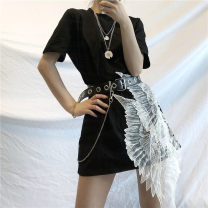 Dress Summer 2020 Black, corny belt Average size Short skirt Short sleeve commute Crew neck Loose waist routine 18-24 years old Retro More than 95% other