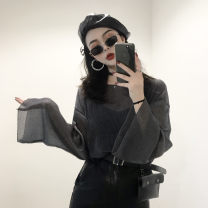 Lace / Chiffon Spring 2021 Smock (black sling) Average size Long sleeves commute Socket Two piece set easy Super short Solid color pagoda sleeve 18-24 years old Other / other Korean version 31% (inclusive) - 50% (inclusive)