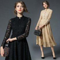 Dress Autumn of 2019 Khaki, black S,M,L,XL,2XL,3XL,4XL,5XL Miniskirt singleton  three quarter sleeve commute stand collar middle-waisted Type A Other / other Lace