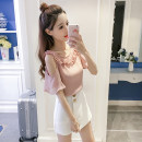 Lace / Chiffon Summer of 2018 Pink white S M L XL 2XL Short sleeve Sweet Socket singleton  easy Regular Crew neck Solid color other 18-24 years old