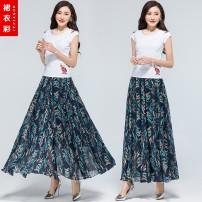 skirt Summer 2020 S. M, l, XL, 2XL, custom shot longuette Versatile Natural waist A-line skirt Broken flowers Type A Ruffle, print