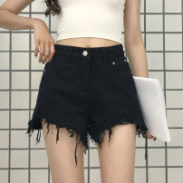 Women's large Summer 2021 black Jeans singleton  commute easy thin Solid color Korean version Denim Hand abrasion Jingqianni hole shorts tassels 101g / m ^ 2 (including) - 120g / m ^ 2 (including) 6 oz (inclusive) - 8 oz (inclusive)