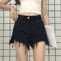 Women's large Summer 2021 black Jeans singleton  commute easy thin Solid color Korean version Denim Hand abrasion Jingqianni hole shorts tassels 101g / m ^ 2 (including) - 120g / m ^ 2 (including) 6 oz (inclusive) - 8 oz (inclusive)