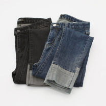 Women's large Spring 2021 Dark blue, black gray Large XL, large XXL, large XXXL, large XXXXL, large L., M Jeans singleton  Sweet easy moderate Solid color Denim, cotton D171 51% (inclusive) - 70% (inclusive) Ninth pants 161g / m ^ 2 (including) - 180g / m ^ 2 (including) Contains (9 oz) - 11 oz