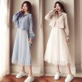 Dress Spring 2020 Mid length dress Two piece set Long sleeves commute stand collar High waist Solid color Socket Pleated skirt routine camisole 18-24 years old Type A Korean version Gauze 31% (inclusive) - 50% (inclusive) other polyester fiber