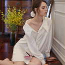Nightdress Other / other white 155(S),160(M),165(L),170(XL) luxurious Long sleeves pajamas Middle-skirt autumn Solid color youth V-neck Polyester (polyester) Hot drill decoration More than 95% polyester fiber Pure skirt