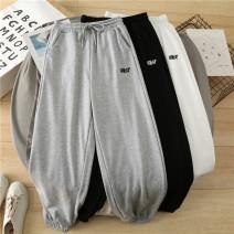 Casual pants Black, gray XL,2XL,3XL,4XL,5XL,6XL Spring 2021 trousers Haren pants High waist commute routine 18-24 years old 30% and below cotton Korean version pocket cotton