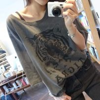 T-shirt grey M,L,XL,2XL,3XL,4XL Summer 2021 Short sleeve Crew neck Fake two pieces Regular routine commute cotton 30% and below 18-24 years old Korean version youth Cartoon, cartoon, animal pattern, letter printing