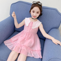 Dress Summer 2020 Pink, blue The recommended height is about 100 for 110cm, 110 for 120cm, 120 for 130cm, 130 for 140cm, 140 for 150cm and 150 for 160cm Mid length dress singleton  Sleeveless commute Doll Collar middle-waisted Princess Dress other straps Under 17 Type A Korean version Chiffon
