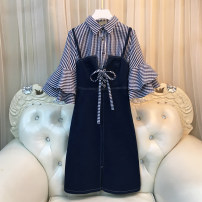 Women's large Fall 2017 Dress Two piece set commute easy moderate Socket Short sleeve stripe Korean version square neck routine other Three dimensional cutting Lotus leaf sleeve 25-29 years old Three dimensional decoration Medium length other Lotus leaf edge