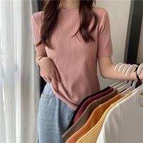 T-shirt Khaki, orange, white, Fuchsia, yellow, black, pink M (90-100kg recommended), l (100-120kg recommended), XL (120-135kg recommended), 2XL (135-150kg recommended) Summer 2021 Short sleeve Crew neck Self cultivation Regular routine commute cotton 96% and above 18-24 years old Korean version