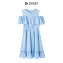 Dress Summer of 2019 Ice blue S,M,L longuette singleton  Short sleeve commute Crew neck Elastic waist Solid color Socket A-line skirt Petal sleeve 18-24 years old Type A 7.Modifier Button, Ruffle polyester fiber