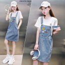 Dress Summer 2021 blue M,L,XL Mid length dress Two piece set Short sleeve commute Crew neck High waist Solid color Socket One pace skirt routine Others 25-29 years old Type H Other / other Korean version Pocket, strap ZK1151 31% (inclusive) - 50% (inclusive)