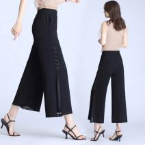 Casual pants 883 black, 883 Brown S,M,L,XL,2XL Summer 2020 Ninth pants Wide leg pants Natural waist commute Thin money 71% (inclusive) - 80% (inclusive) polyester fiber Korean version Diamond inlay polyester fiber