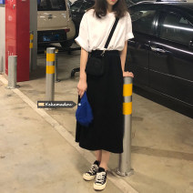skirt Spring 2021 Average size black Mid length dress commute High waist A-line skirt Solid color Type H 18-24 years old Other / other Korean version