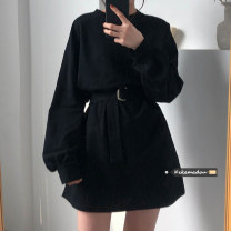 Dress Spring 2021 Gray, white, purple, red, blue, yellow, black Average size Short skirt singleton  Long sleeves commute Crew neck High waist Solid color Socket routine 18-24 years old Type H Other / other Korean version More than 95% cotton