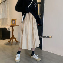 skirt Spring 2021 Average size Apricot, green, black Mid length dress commute High waist Pleated skirt Solid color Type A 18-24 years old 8576# other Other / other Korean version