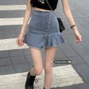 skirt Summer 2021 S,M,L Wash blue Short skirt commute High waist A-line skirt Solid color 18-24 years old fold Korean version