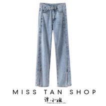 Jeans Spring 2021 Light blue S,M,L,XL trousers Natural waist Straight pants routine Make old other 31% (inclusive) - 50% (inclusive)