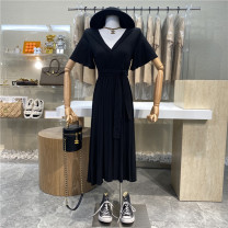 Dress 31% (inclusive) - 50% (inclusive) Type A Summer 2021 longuette singleton  Short sleeve commute V-neck Solid color Condom pagoda sleeve 18-24 years old High waist A-line skirt First Sight One size fits all