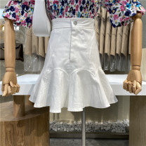 skirt Summer 2021 S,M,L White, black Short skirt commute High waist Denim skirt Solid color Type A 18-24 years old 31% (inclusive) - 50% (inclusive) First Sight
