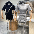 Dress Summer 2021 Gray, black Average size Mid length dress singleton  Short sleeve commute V-neck Solid color Socket One pace skirt routine 18-24 years old Type A First Sight 31% (inclusive) - 50% (inclusive) other