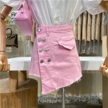 Jeans Summer 2021 Blue, white, pink S,M,L shorts High waist Straight pants routine 18-24 years old First Sight 31% (inclusive) - 50% (inclusive)