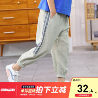 trousers extremely male 110cm(110cm),120cm(120cm),130cm(130cm),140cm(140cm),150cm(150cm),160cm(160cm) Shallow water green, army green summer Ninth pants leisure time There are models in the real shooting Sports pants Leather belt middle-waisted Don't open the crotch Other 100% ZZ-BK02121M Class B