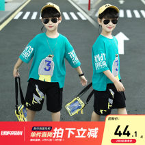 suit extremely White, lake green, factory workmanship, quality assurance 110cm,120cm,130cm,140cm,150cm,160cm male summer leisure time Short sleeve + pants 2 pieces Thin money There are models in the real shooting Socket nothing cotton children Learning reward ZZ-BT02047M Class B Other 100% 3 months