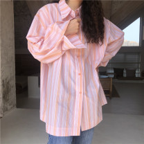 shirt S,M,L,XL Summer 2020 other 51% (inclusive) - 70% (inclusive) Long sleeves commute Medium length Polo collar Single row multi button routine stripe 18-24 years old Other / other Korean version Button, pocket