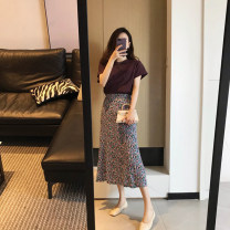 Professional dress suit S,M,L,XL Purple Top + floral skirt, purple top + white skirt Summer 2021 Short sleeve 96% and above cotton