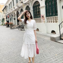 Dress Summer 2021 white S,M,L longuette singleton  Short sleeve Sweet V-neck High waist Solid color zipper other puff sleeve Others 25-29 years old Type H Deng Liuliu Button, Auricularia auricula, stitching, lace up Chiffon