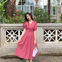 Dress Summer 2021 Rose powder S,M,L longuette singleton  Short sleeve commute V-neck High waist Solid color zipper Big swing puff sleeve Others 25-29 years old Type A Deng Liuliu Pleats, lace up, stitching, tridimensional decoration, buttons, zippers polyester fiber