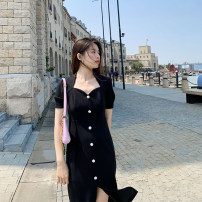 Dress Summer 2021 black S,M,L Mid length dress singleton  Short sleeve commute square neck High waist Solid color zipper A-line skirt routine Others 25-29 years old Type A Deng Liuliu Button, Auricularia auricula, stitching, lace up polyester fiber