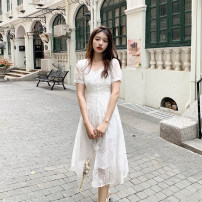 Dress Summer 2021 white S,M,L longuette singleton  Short sleeve Sweet square neck High waist Solid color zipper A-line skirt routine Others 25-29 years old Type A Deng Liuliu Embroidery, stitching, mesh, zipper Lace polyester fiber
