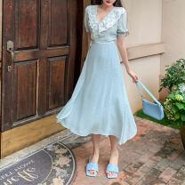 Women's large Summer 2020 Elegant blue M [80-100 Jin], l [100-115 Jin], XL [115-135 Jin], 2XL [135-155 Jin], 3XL [155-175 Jin], 4XL [175-200 Jin] Dress singleton  commute Self cultivation moderate Socket Short sleeve Decor Korean version V-neck polyester fiber Collage puff sleeve 25-29 years old