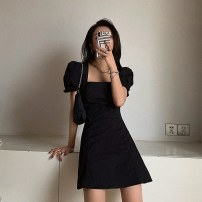 Dress Summer 2021 Black dress, Purple Floral Skirt S,M,L,XL,2XL Short skirt singleton  Short sleeve commute square neck High waist Solid color Socket A-line skirt puff sleeve Others 18-24 years old Type A Other / other Korean version 31% (inclusive) - 50% (inclusive) polyester fiber
