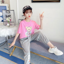 suit Other / other White, pink 120cm,130cm,140cm,150cm,160cm,170cm female summer Korean version Short sleeve + pants 2 pieces Thin money There are models in the real shooting Socket nothing Cartoon animation cotton children Expression of love Class B Cotton 90% polyester 10% Chinese Mainland