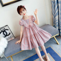 Dress Green, pink female Other / other 110cm,120cm,130cm,140cm,150cm,160cm Other 100% summer Korean version Short sleeve lattice other A-line skirt 71-1 mesh collar plaid skirt Class B Chinese Mainland Zhejiang Province Huzhou City
