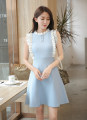 Dress Summer 2021 Black, light blue Average size Mid length dress singleton  Sleeveless Sweet Crew neck 8102#