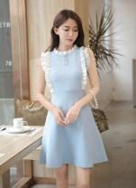 Dress Summer 2021 Black, light blue Average size Mid length dress singleton  Sleeveless Sweet Crew neck 8102#